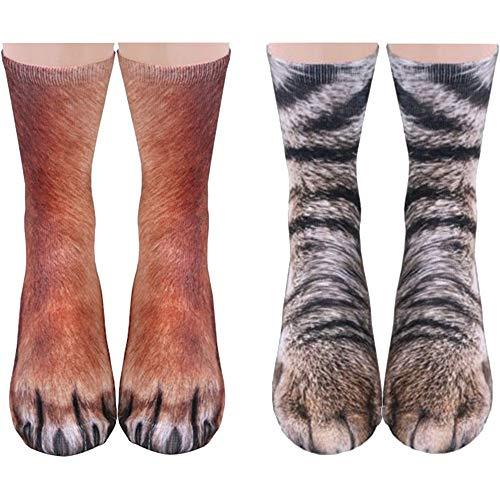 Animal Paws Socks Novelty Animal Socks Crazy 3D Cat Dog Tiger Paw Socks Funny Christmas Gift Stocking Stuffers for Women Men