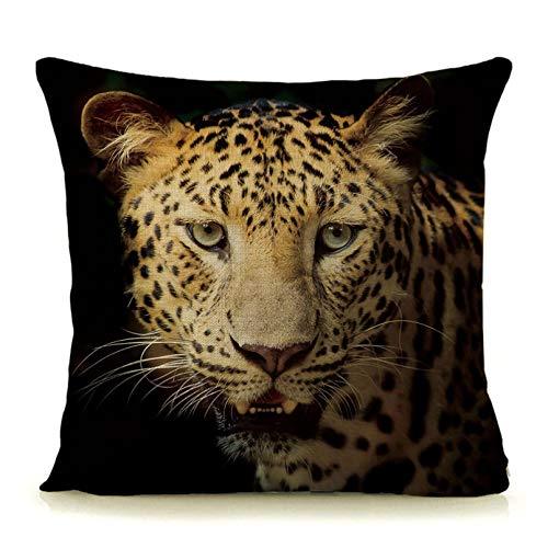 Funda de Almohada Almohada Lumbar Almohada de Coche Fondo Negro Estampado de Leopardo Estampado de Animales Funda de cojín Almohada Decorativa para el hogar Cuadrado 45x45cm