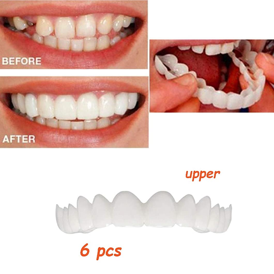 ましい薄汚いスティック偽の歯のトップ自信を持って笑顔快適フィットフレックスホワイト歯義歯仮歯化粧品突き板ワンサイズフィット矯正(6個歯のトップ)
