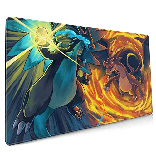 Chari-Zard Large Gaming Mouse Pad (15.7x35.4x0.12inch) Extended Ergonomic for Pc and Laptop Thick Keyboard Mouse Mat Non-Slip Rubber Base Mouse Pad