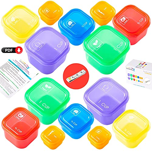 21 Day Portion Control Container Kit for Weight Loss(14 Piece Labeled) with Tape Measure -Labeled Meal Food Containers - 21 Day Tally Chart with e-Book