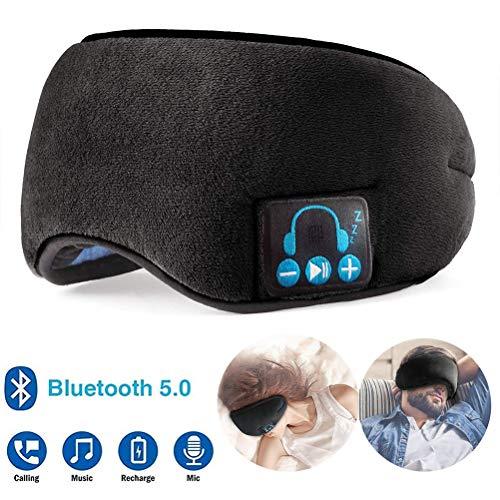Bluetooth Schlafaugenmaske Kopfhörer, 5.0 Kabellose Bluetooth Kopfhörer Music Travel Sleeping Headset mit Eingebauten Lautsprechern Mikrofon Freisprecheinrichtung zum Schlafen