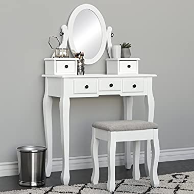 Best Choice Products Makeup Cosmetic Beauty Vanity Dressing Table Set w/Oval Mirror, Stool Seat, 5 Drawers - White