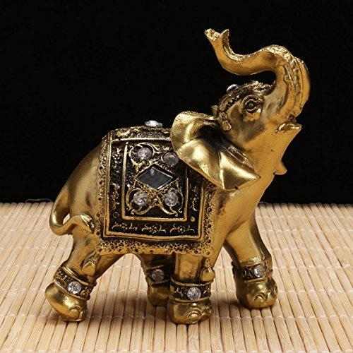 Changlesu Dekofigur Elefant aus Kunstharz, Elefant mit Diamanten, Souvenir, Gartenfiguren, Miniatur, Haus, Glück, Reichtum, 9 × 9 cm