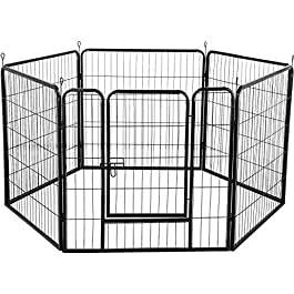Yaheetech Heavy Duty 6 Panel Dog Pen Pet Playpen Dog Exercise Pen Cat Fence Black 80cm High