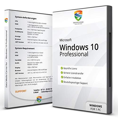 Windows 10 Pro – Vollversion │ Windows 10 Professional – DVD – 64bit / 32 bit inkl. Updates │ Dauerlizenz inkl. Lizenzunterlagen per E-Mail │ deutsch │ NEU │ Kundensupport