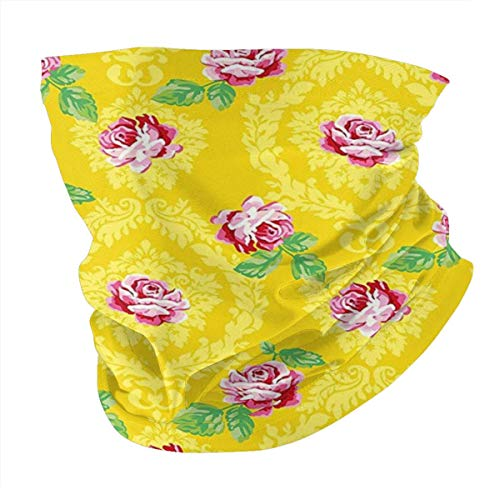 Q&SZ Sweatshirt Outdoor Headband Shabby Chic Decor Floral Decor Pink Flowers with Leaves Pattern Vintage Design Print Mustard and Pink Scarf Neck Gaiter Face Bandana Scarf Head Scarf
