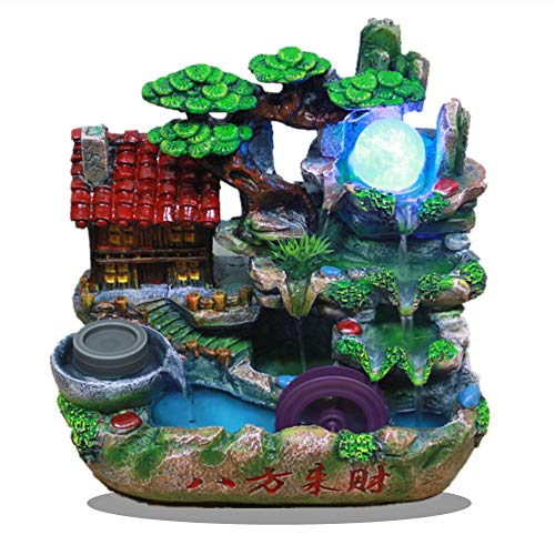 Fishlor Tabletop Fountain, Small Rockery 3-Step Water Fountain, 11.8in Desktop Indoor Fountain with Light&Ball, Home Waterwheel Waterfall Fountain Decor for Office, Living Room Feng Shui Fountain