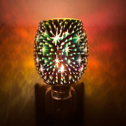 TiooDre Duftlampe Elektrisch 3D Feuerwerk Scentsy Duftlampe Tragbar Elektrische Duftlampe für Melts Rauchfrei Duftlampe Wachs für Home Office Schlafzimmer Geschenke (Schleierkraut)