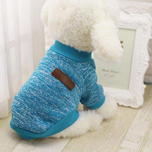 Hunpta @ 8 Farbe Haustier Hund Welpe Klassische Pullover Pullover Kleider warme Pullover Winter (Blau, S)