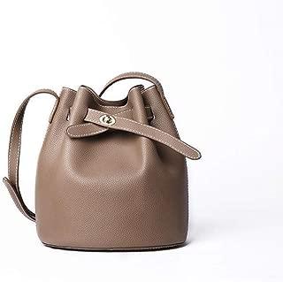 Fashion Women's Fashion Single Shoulder Genuine Leather Bucket Bag Solid Color Cowhide Mini Crossbody Bag Handbag (Color : Khaki)