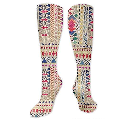 Zome Lag Athletic Crew Socks, Running-sokken, vrijetijdssokken, grappige sokken, Aztec stijl patroon met triangel- en lijn heren jurk Holiday Socks, unisex tennissokken 50 cm