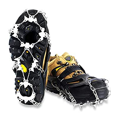 EIVOTOR?Upgraded 24 Spikes Walk Traction Ice Cleat Spikes Crampons,Ice Snow Grips for Footwear for Walking, Jogging, Climbing, Hiking on Snow and Ice?M?