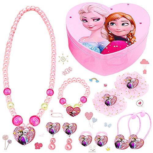 LLMZ Disney Frozen Joyas de niña 11pcs Reina congelada Conjunto joyas Aisha(1pcs collar+1pcs Pulsera+2pcs arete+2pcs anillo+2pcsBanda elástica+2pcsHorquilla+1pcs Caja de amor plegable)