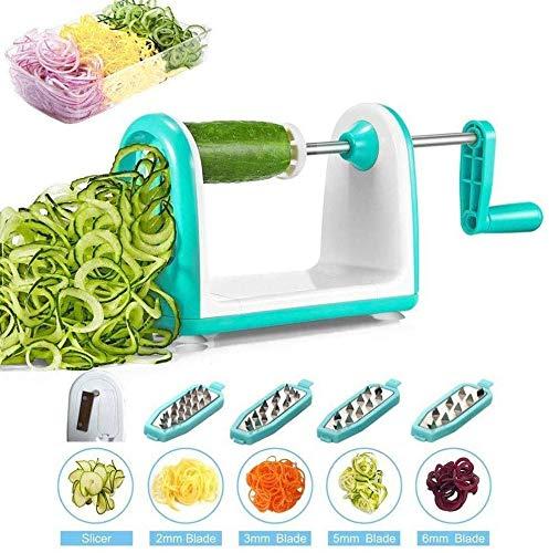 Relaxbx Plantaardige Spiralizer Slicer, met 5 Ultra Sharp Blades, Spiral Slicer, Spaghetti Maker, met voedsel container voor courgette noedels, Pasta (Kleur: blauw)