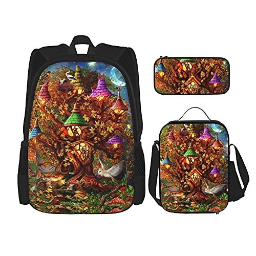 Lindo hueso dorado cachorro mochila escuela bolsa bolsa de almuerzo con estuche de lápices, conjunto 3 en 1, Fantasy Tree House, Taille unique