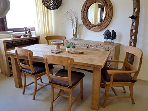 casamia Essgruppe Esszimmer Sitzgruppe Teakholz Tisch 180 x 90 cm und 6 Stühle Teakholz massiv Kissen mit Sitzkissen braun