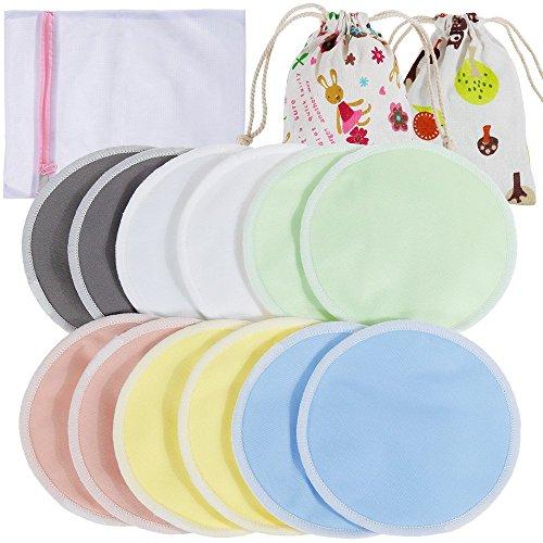 Lictin 12 Bio-Stilleinlagen Stilleinlagen Hautfreundlich mit 1 Wäschenetz und 2 Stofftasche Wiederverwendbar