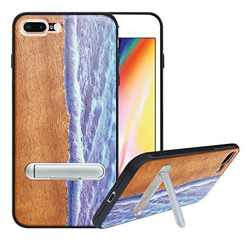HHDY Funda de Madera para iPhone 7 Plus/iPhone 8 Plus, Carcasa Kickstand con Soporte de Metal, Case Cover Madera Real+TPU Bumper Caso Funda para iPhone 7 Plus/iPhone 8 Plus, Wave