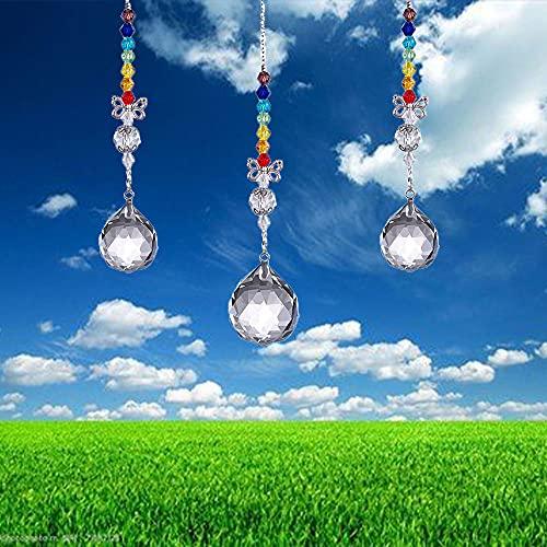 NETT Cristal Arcoíris,Prismas Arco Iris Colgante,Atrapasoles Cristal,Cristal Colgante para Ventana,3 Colgantes de...