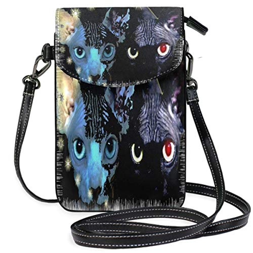 XCNGG bolso del teléfono Mounting Face Of Cats Sphynx Pets Cell Phone Purse Wallet for Women Girl Small Crossbody Purse Bags