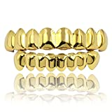 JINAO 18K Gold Plated Gold Finish 8 Top Teeth 8 Bottom Tooth Grillz Hip Hop Mouth Grills for Men Women (Gold Set)