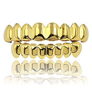 JINAO 18K Gold Plated Gold Finish 8 Top Teeth 8 Bottom Tooth grillz Hip Hop Mouth Grills for Men Women  Gold Set