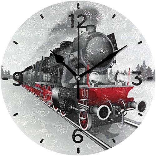 xinfub Wanduhr Eisenbahn Zug Acryl Dekorative Runde Uhr Kunst für Home Decor Wohnzimmer Schlafzimmer
