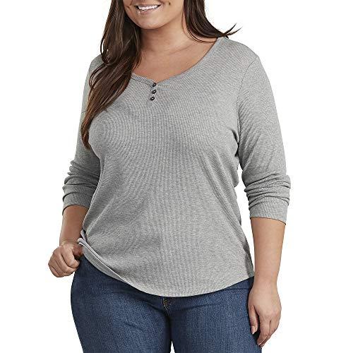 Dickies Women's Plus Size Long-Sleeve 3-Button Henley Shirt, Graphite Single Dye, 3PS