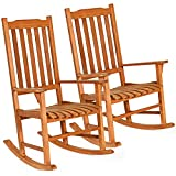 Giantex Set of 2 Porch Rocking Chair, Solid Wood Rocker for Outdoor Indoor Use. Natural Finish, Single Chairs for Patio Deck Garden