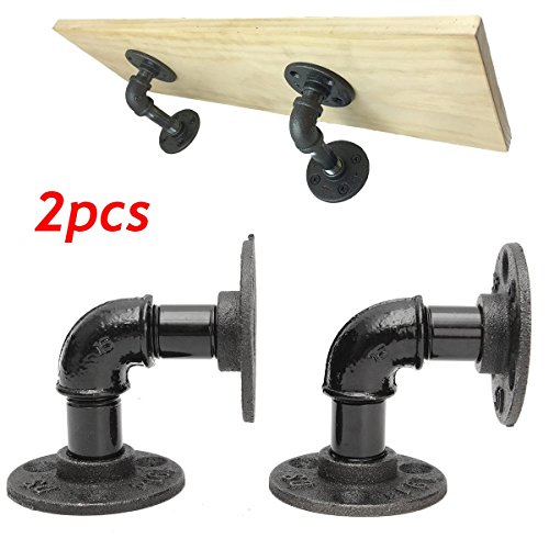 2 pcs Vintage Retro Black Iron Industrial Pipe Shelf Bracket Mounting Bracket Holder Storage Holders Racks Home Decor