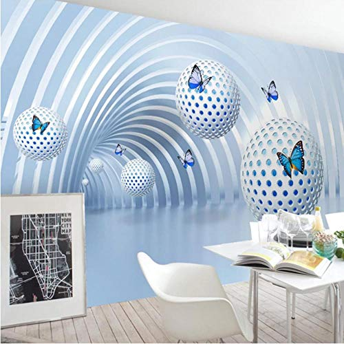 mazhant Benutzerdefinierte Foto-Wandtapete 3D Stereoscopic Circle Ball Modernes Wohnzimmer Schlafzimmer Innen Hintergrund Dekoration Wandmalerei-300x210cm