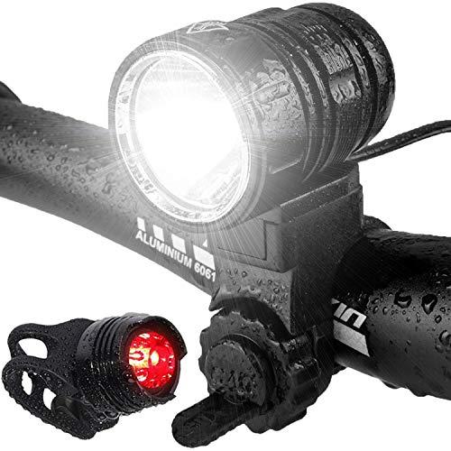 Luces Bicicleta, LED Luz Bicicleta Impermeable,Luz de Bici Recargable USB, Al Aire Libre Luces Bici Delantera and LED Luces Trasera Kit,1200 Lúmenes Súper Potente Lámpara, 4 Modos Iluminación