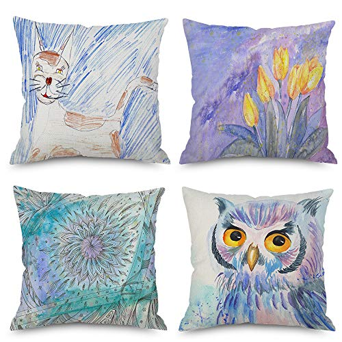 LoveHome Decor Floral Animal Watercolor Throw Pillow Covers, Imaginative Summer Girly Decorative Cushion Decor Linen Set of 4,18 X 18 inch (Fresh-Flower-Animal)