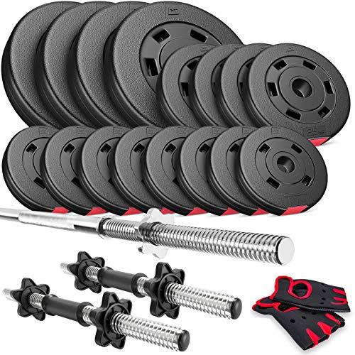 Hop-Sport Hantelset 51 kg, 1x Langhantel, 2X Kurzhanteln, Hantelscheiben 30mm: 4x5 /4x2,5 /8x1,25kg
