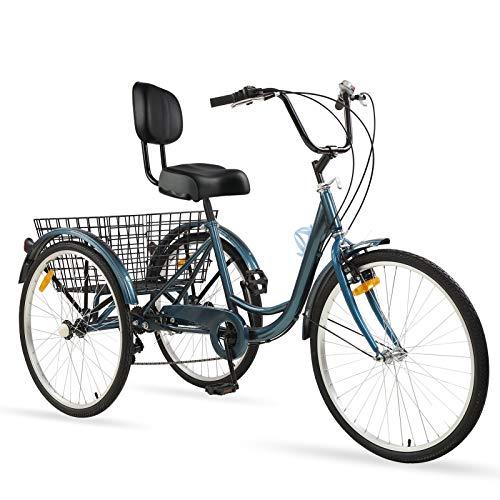 Ey Adult Tricycle, 3 Wheel Bike Adult, Three Wheel Cruiser Bike 24 26 inch Wheels with Basketball, 7 Speed, Adjustable Seat and Handlebar, Multiple Colors
