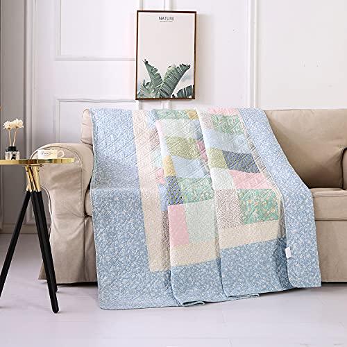 Qucover Couvre-Lit Boutis Couverture Matelassé en Coton Couverture Patchwork Courtepointe Réversible Couette Jeté de canapé