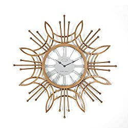 Wall Clocks Large Decorative, 24 Round Oversized Analog Metal Clock, Quartz Decorative Battery Operated Wall Clock for Home, Office