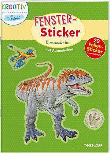 Fenster-Sticker Dinosaurier: 24 Ausmalseiten, 20 Folien-Sticker