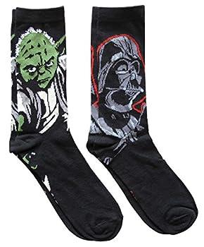 Star Wars Darth Vader and Yoda Men s Crew Socks 2 Pair Pack Shoe Size 6-12