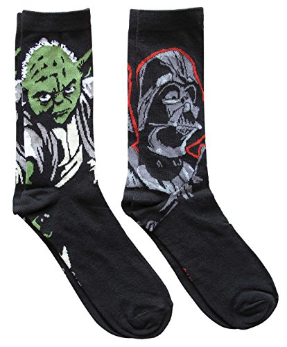 Star Wars Darth Vader and Yoda Men's Crew Socks 2 Pair Pack Shoe Size 6-12