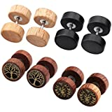 Zysta 4 Paare 1.2mm Sono Holz Ohrstecker Set Fake Herren Damen Ohrstecker Fake Tunnel Plug Cheater...