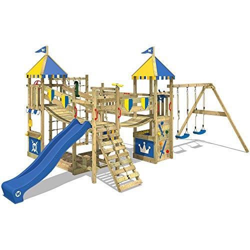 WICKEY Parque infantil de madera Smart Queen con columpio y tobogán azul, Torre de escalada da exterior con arenero y escalera para niños