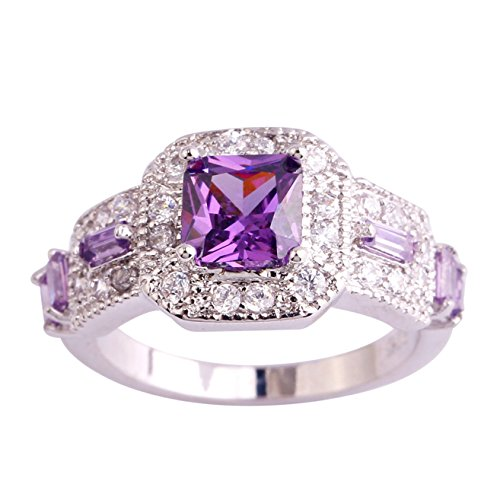 Emsione 925 Sterling Silver Plated Created Amethyst Princess Cut Halo CZ Pave Wedding Engagement Anniversary Statement Eternity Ring Color Purple Size 6¡