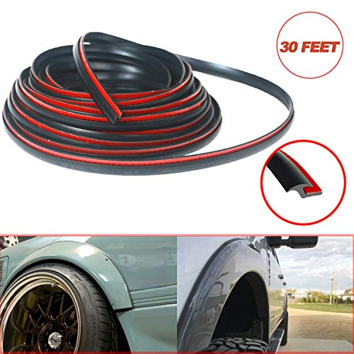 """Fender Flares Edge Trim, Fender Flare Rubber Seal for Car and Truck Wheel Wells, Rubber Gasket for Fender Flares Universal, Bonds w/ Automotive-Grade Adhesive Tape, T-Style, 30' Length, 0.232"""" Height"""