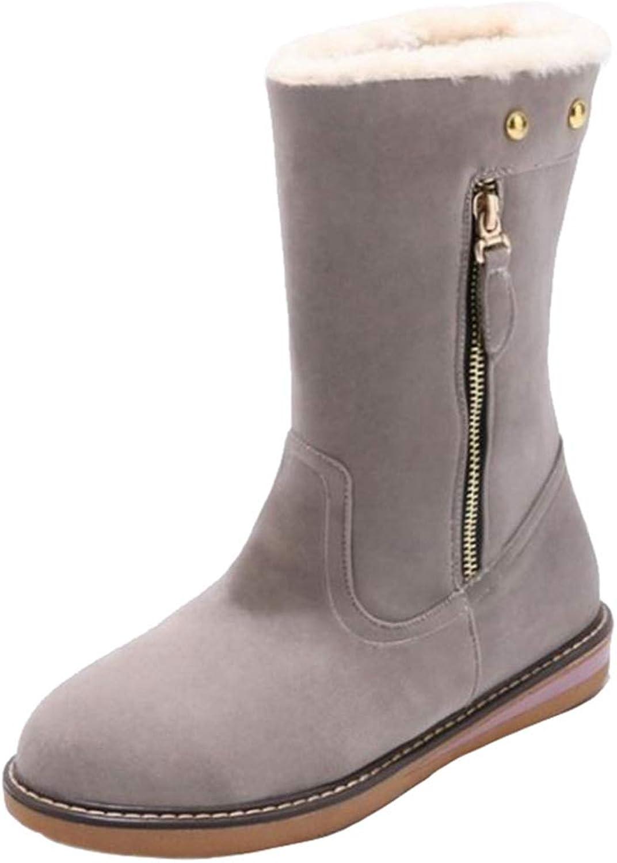 Onewus Women Mid-Calf Flat Boots