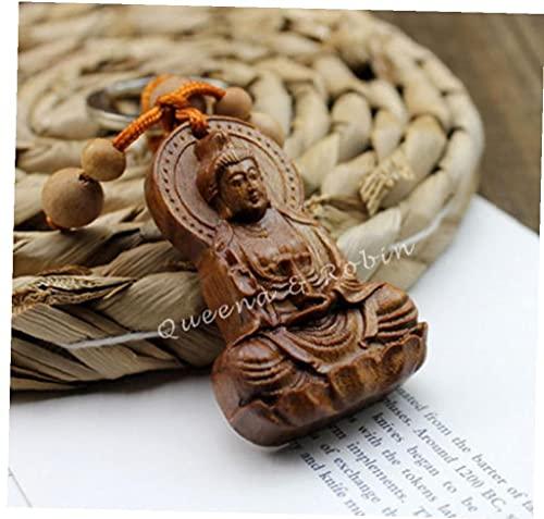 Onsinic 1pc Guan Kwan Yin Buddha Statue Anhänger Holzschnitzerei Chinesischen Buddhismus Schlüsselanhänger Schmuck-dekor Für Mädchen-Frauen