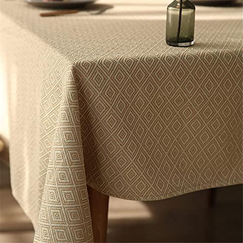 KUATAO Mantel rectangular mantel de mesa de café de tela moderno pequeño diamante fresco patrón geométrico mantel simple y grueso amarillo rombo 140 x 240 cm