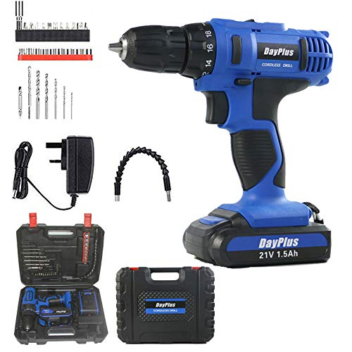 Power 21V 1500mAh Lithium Ion Cordless Drill, Electric Combi Drill Set with 3/8 inches Keyless Chuck, Variable Speed, 29pcs Compact Drill/Driver Bits