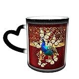 Taza de café de cerámica que cambia el calor, elegante vintage pavo real y damasco rojo, taza de té mágica sensible para café, té, leche o cacao para hombres y mujeres